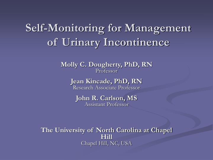 Self monitoring for management of urinary incontinence