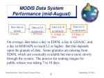 modis data system performance mid august