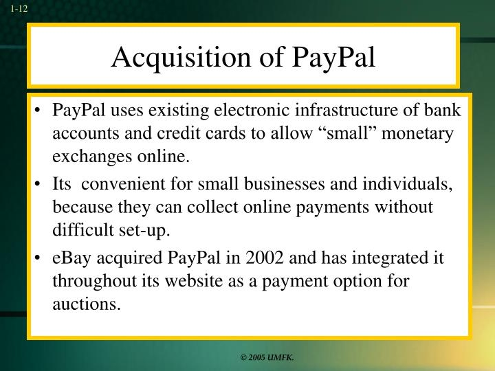 Acquisition of PayPal