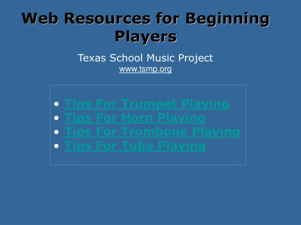 Web Resources for Beginning Players