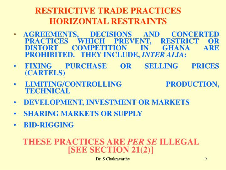 RESTRICTIVE TRADE PRACTICES