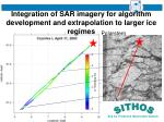 integration of sar imagery for algorithm development and extrapolation to larger ice regimes
