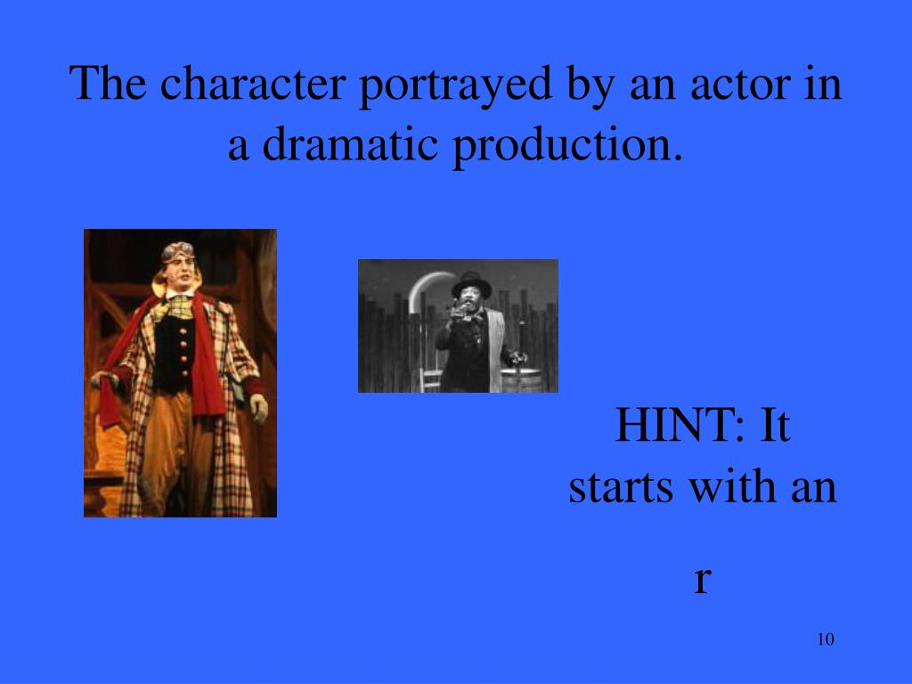 The character portrayed by an actor in a dramatic production.