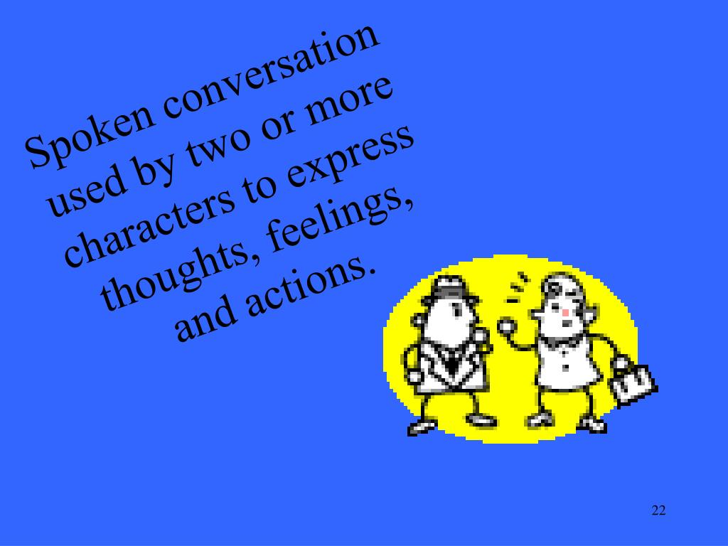 Spoken conversation used by two or more characters to express thoughts, feelings, and actions.