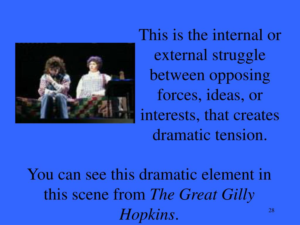 This is the internal or external struggle between opposing forces, ideas, or interests, that creates dramatic tension.