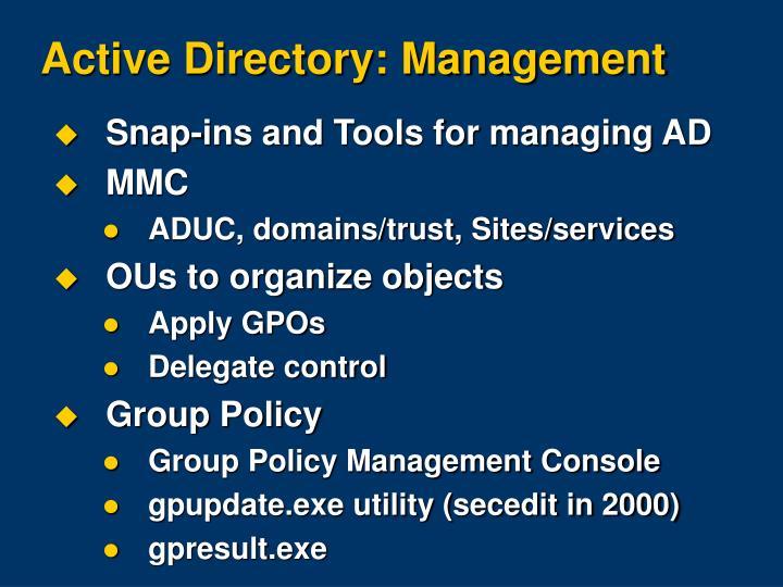 Active Directory: Management