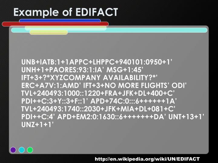 Example of EDIFACT