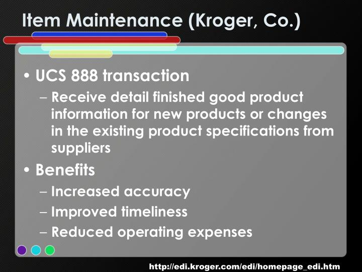 Item Maintenance (Kroger, Co.)