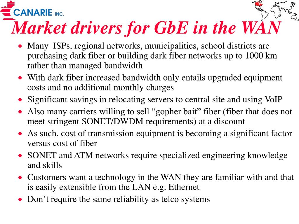 Market drivers for GbE in the WAN
