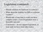 legislation continued