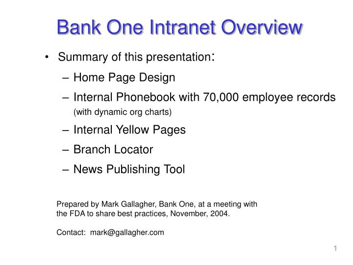 bank one intranet overview n.
