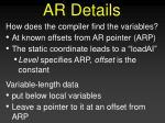 ar details