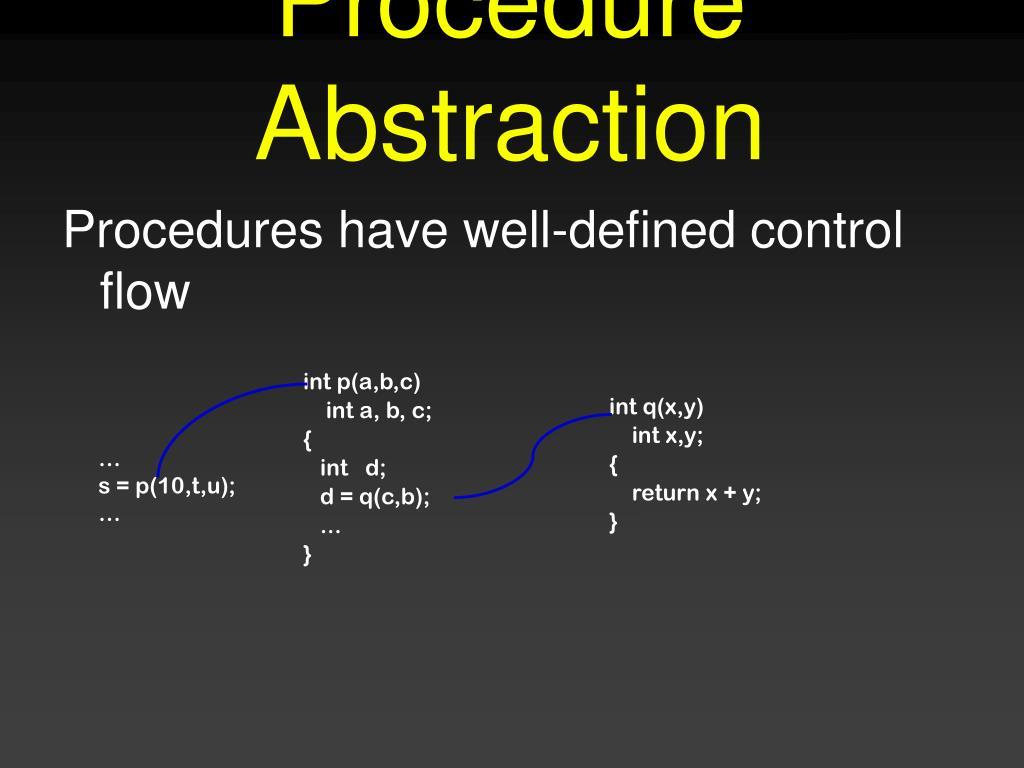 Procedure Abstraction