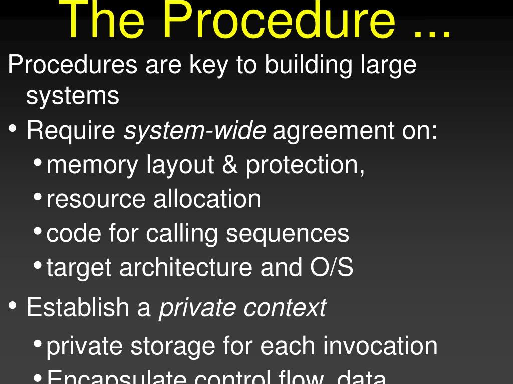 The Procedure ...