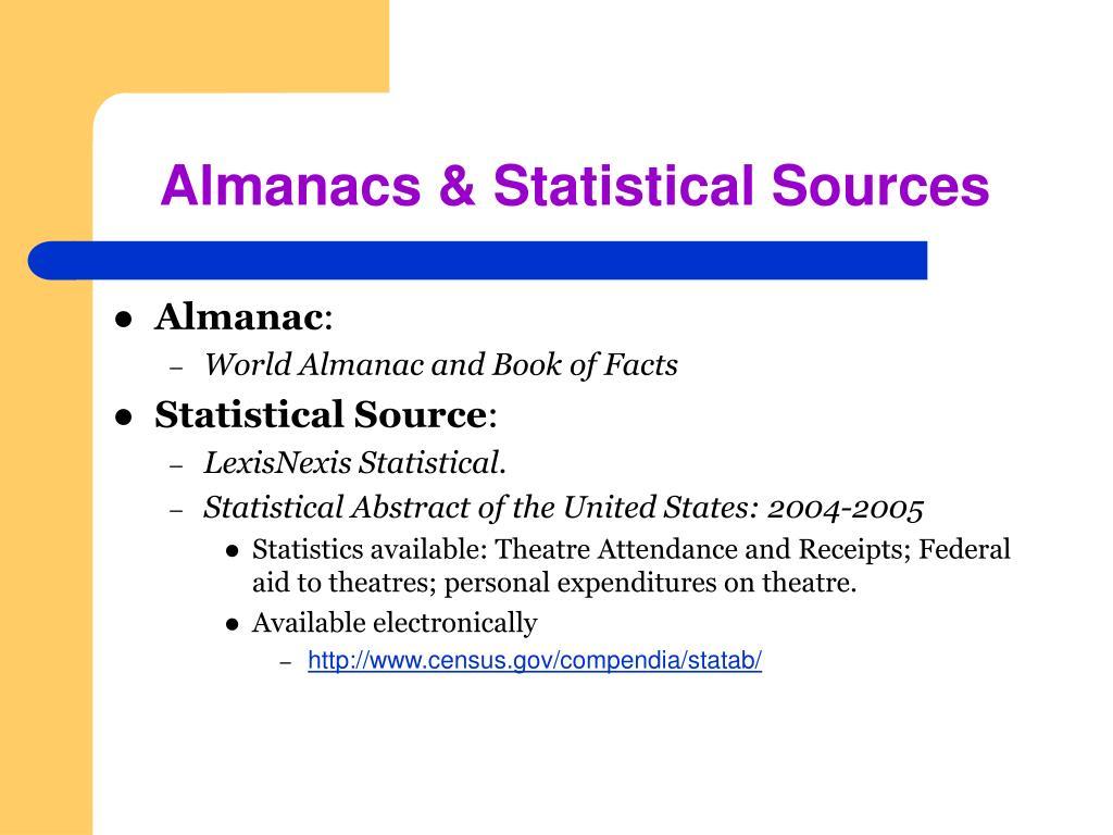 Almanacs & Statistical Sources