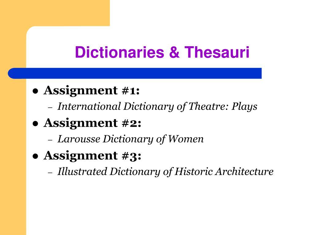 Dictionaries & Thesauri