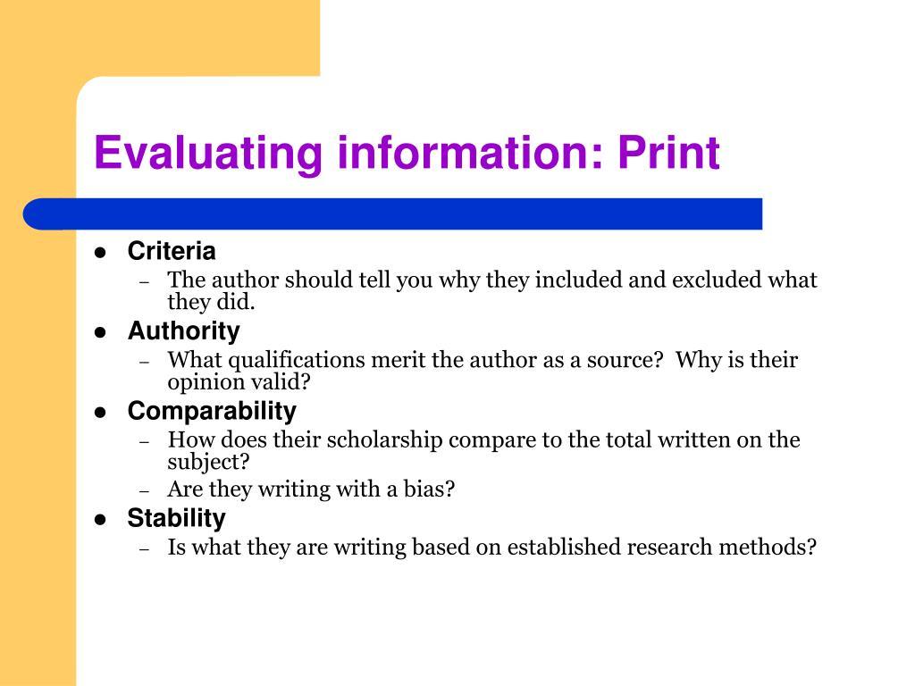 Evaluating information: Print