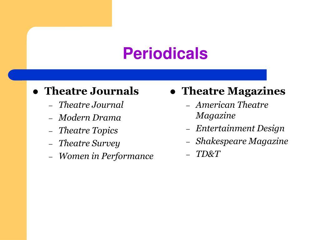 Theatre Journals