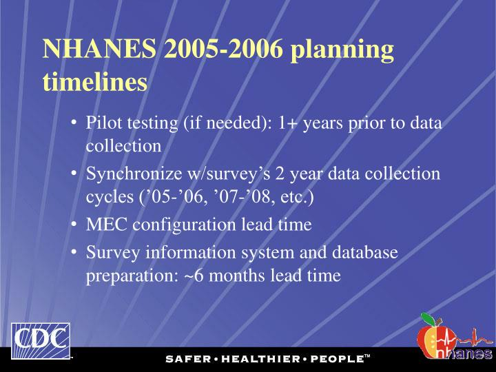 NHANES 2005-2006 planning timelines