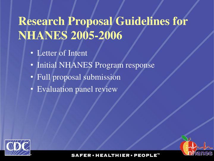Research Proposal Guidelines for NHANES 2005-2006