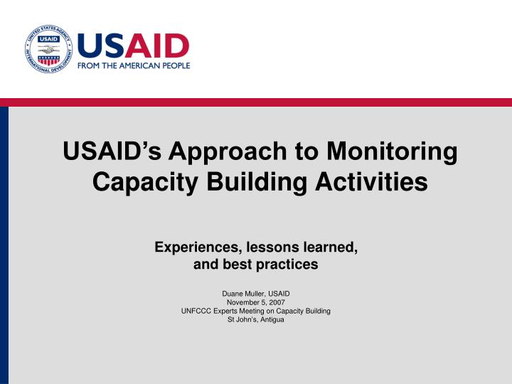 usaid s approach to monitoring capacity building activities n.