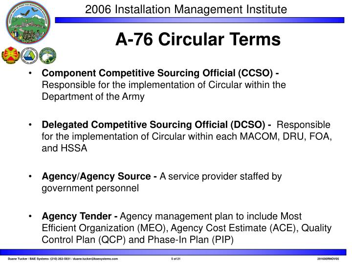 Component Competitive Sourcing Official (CCSO) -
