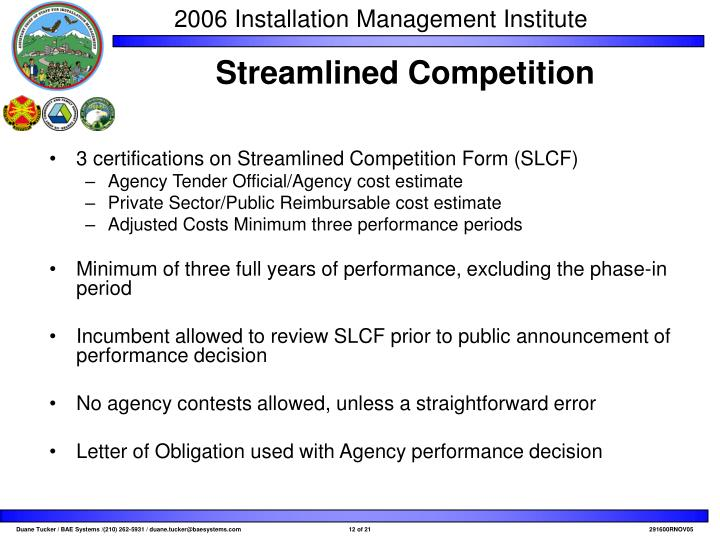 3 certifications on Streamlined Competition Form (SLCF)