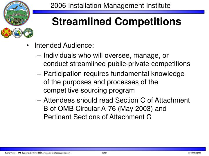 Streamlined competitions