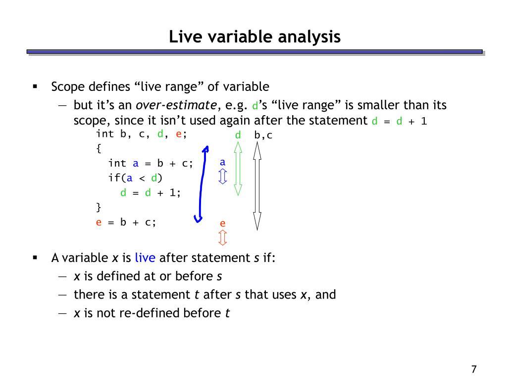 Live variable analysis