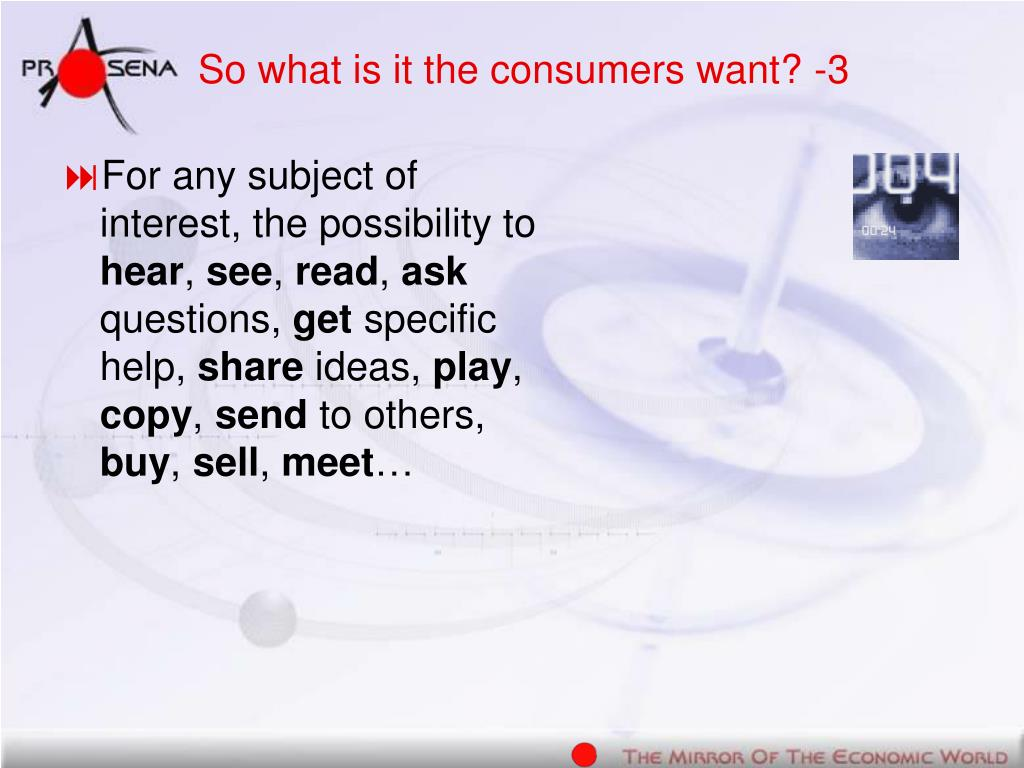So what is it the consumers want? -3