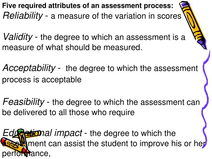 Five required attributes of an assessment process: