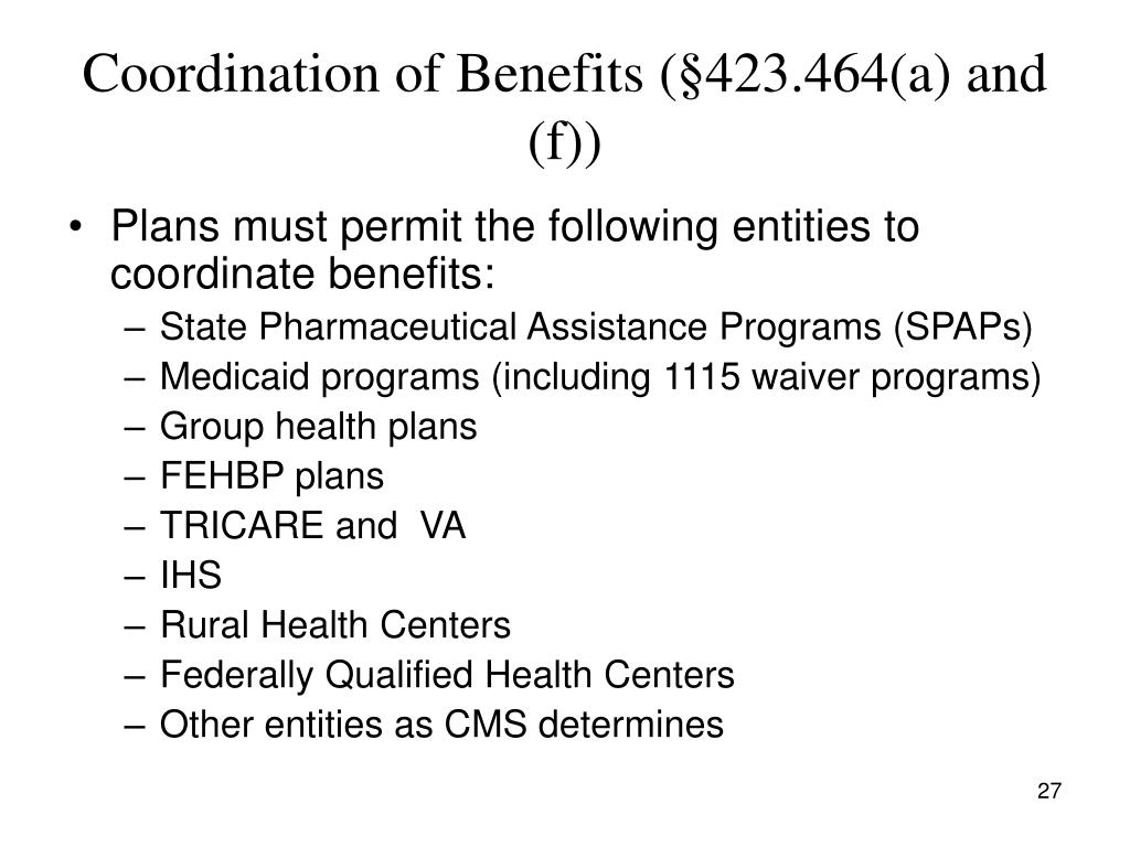 Coordination of Benefits (§423.464(a) and (f))