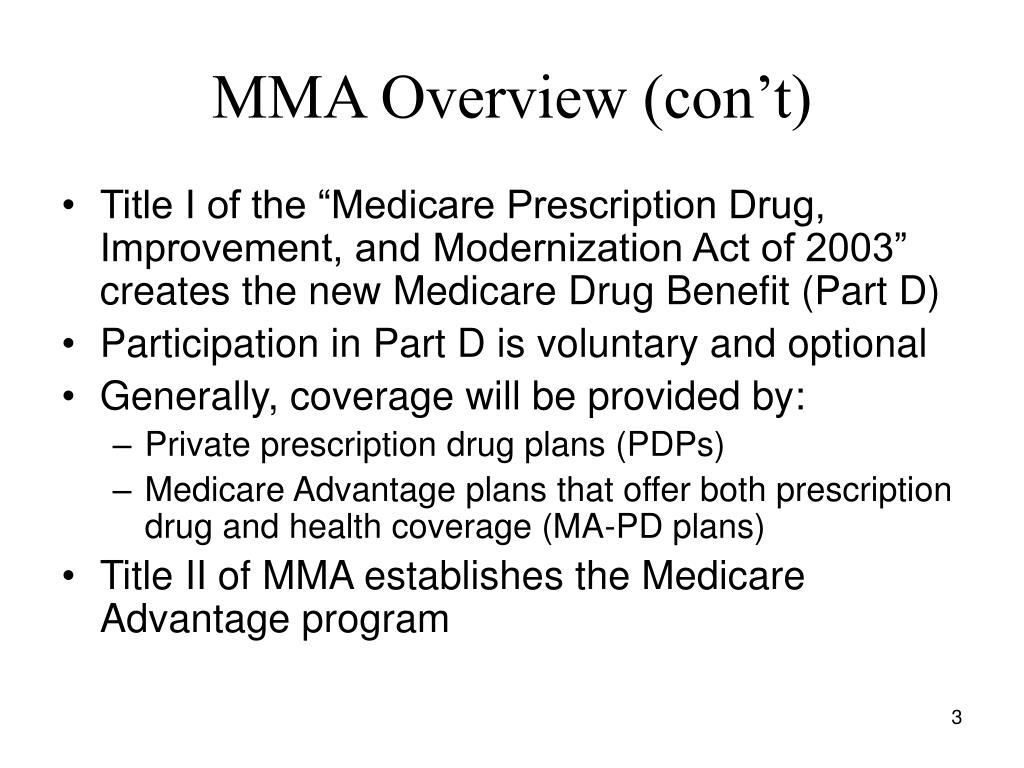 MMA Overview (con't)