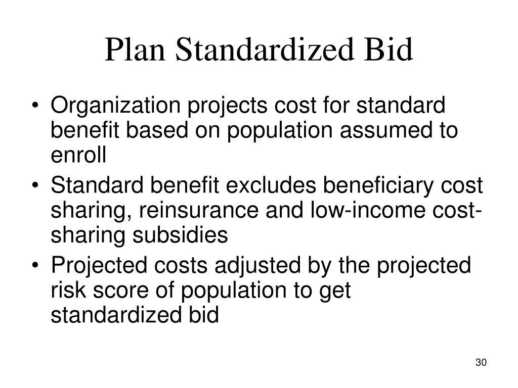 Plan Standardized Bid