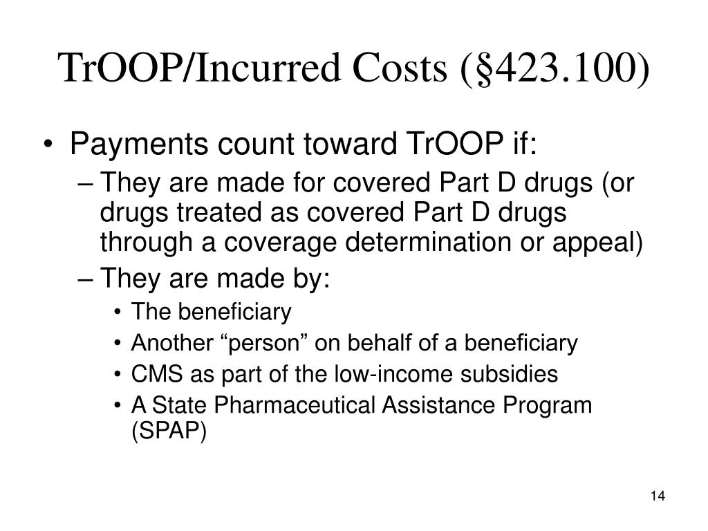 TrOOP/Incurred Costs (§423.100)
