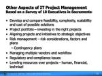 other aspects of it project management based on a survey of 10 executives in sacramento