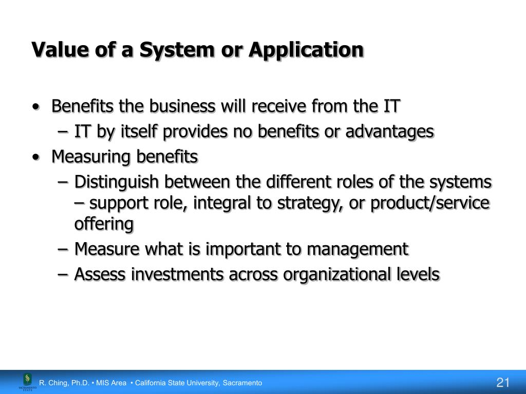 Value of a System or Application