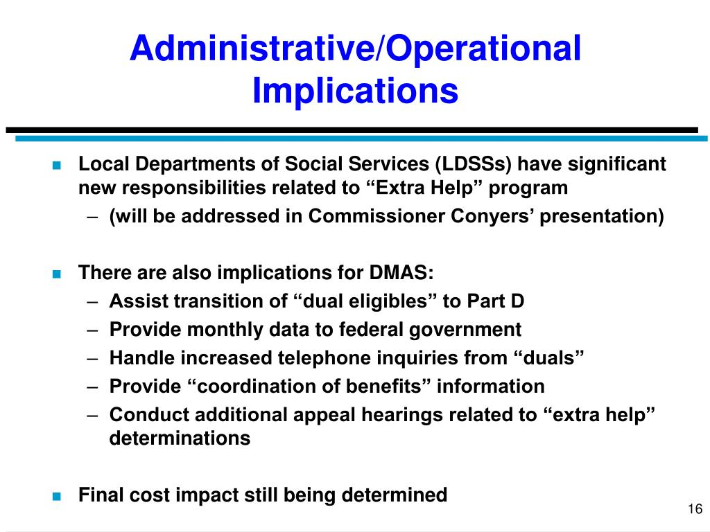 Administrative/Operational Implications