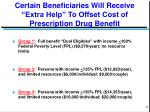 certain beneficiaries will receive extra help to offset cost of prescription drug benefit