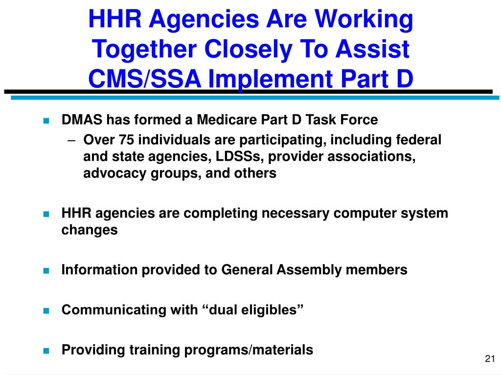 HHR Agencies Are Working Together Closely To Assist CMS/SSA Implement Part D