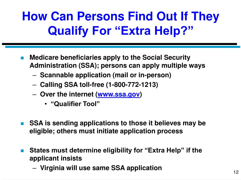 """How Can Persons Find Out If They Qualify For """"Extra Help?"""""""