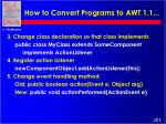 how to convert programs to awt 1 1201