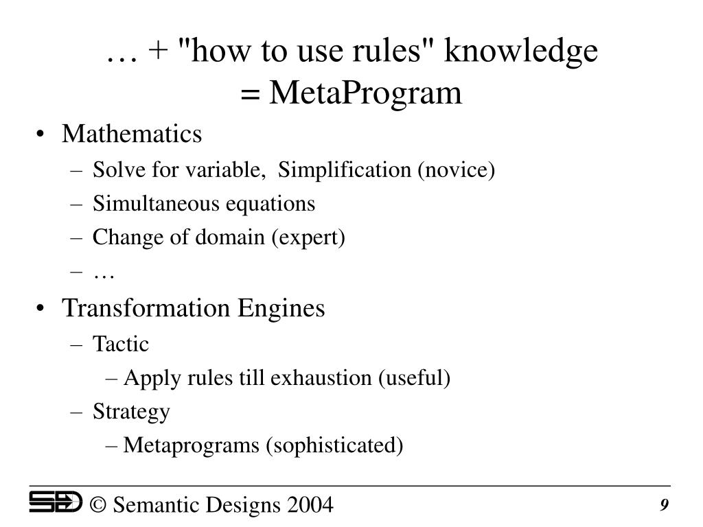 """… + """"how to use rules"""" knowledge"""