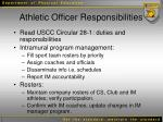 athletic officer responsibilities