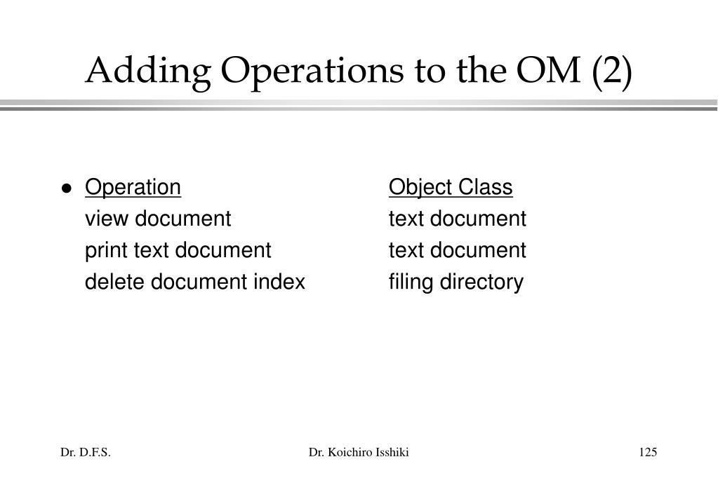 Adding Operations to the OM (2)