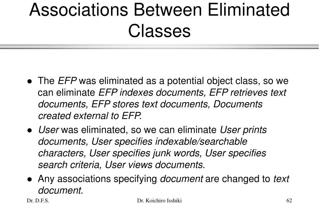 Associations Between Eliminated Classes