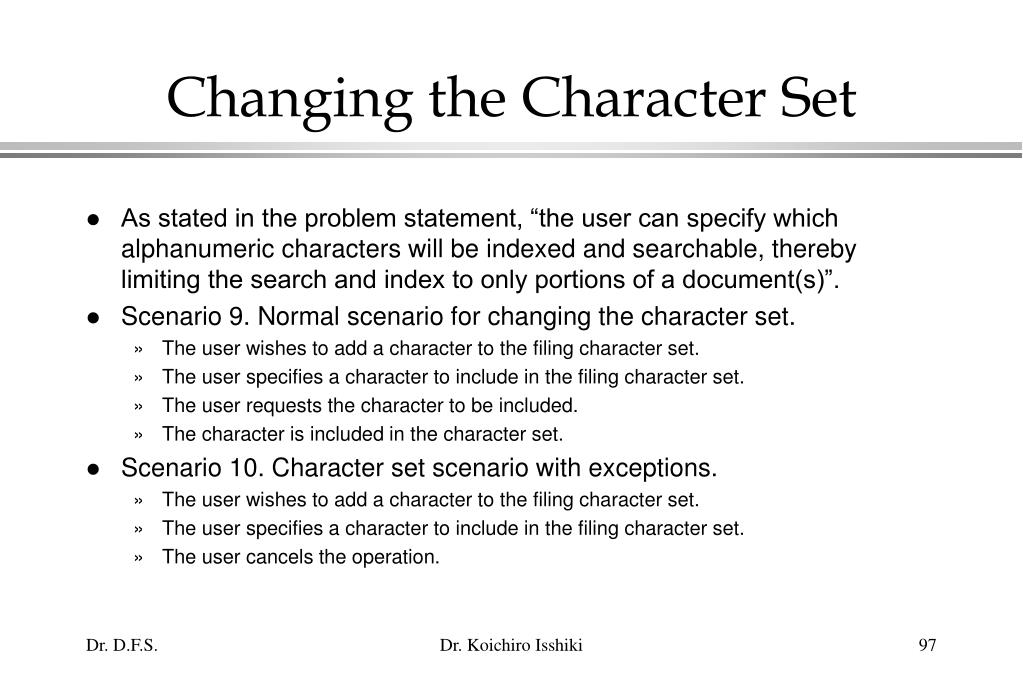 Changing the Character Set