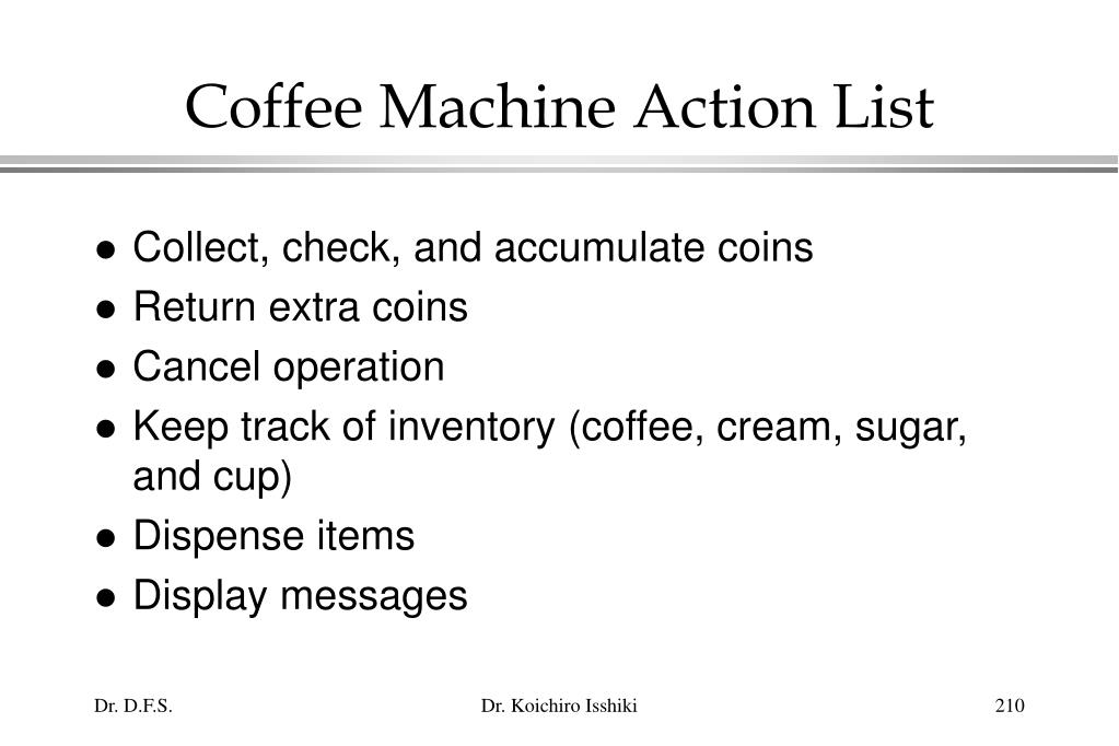 Coffee Machine Action List