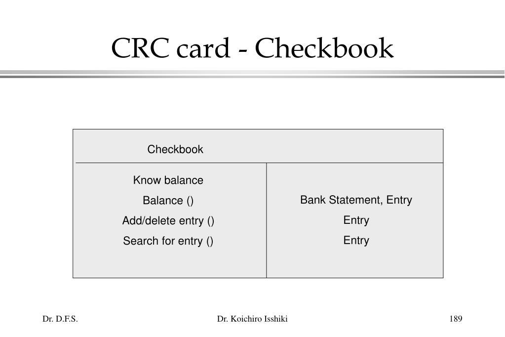 CRC card - Checkbook