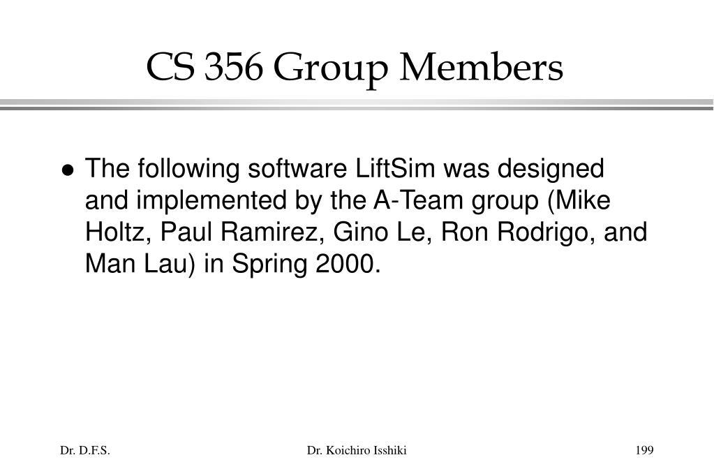 CS 356 Group Members